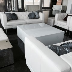 White couches and table